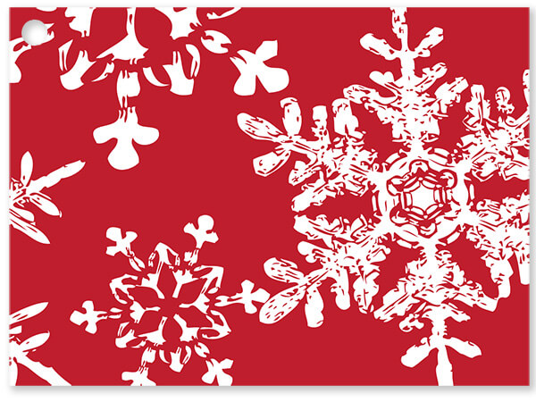 Christmas Snowflakes Red Theme Gift Cards 3-3/4x2-3/4""