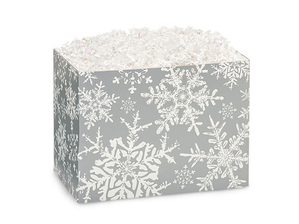 Small Christmas Snowflakes Silver Basket Boxes 6-3/4x4x5""