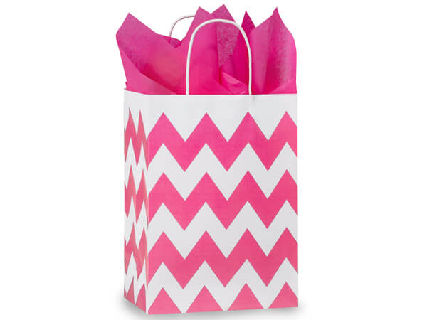 Cub Chevron Stripe Hot Pink 25 Pk Bags 8-1/4x4-3/4x10-1/2""