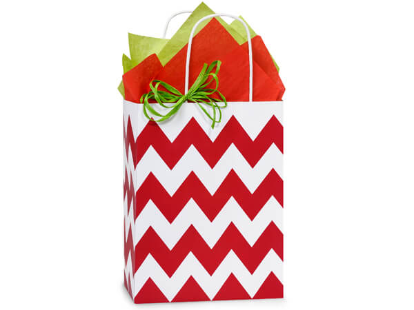 Cub Chevron Stripe Red 25 Pk Bags 8-1/4x4-3/4x10-1/2""