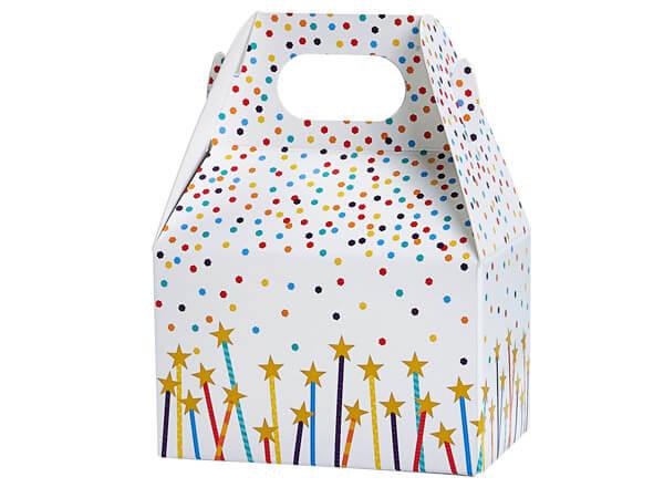 "Confetti and Stars Mini Gable Boxes 4x2.5x2.5"", 6 Pack"