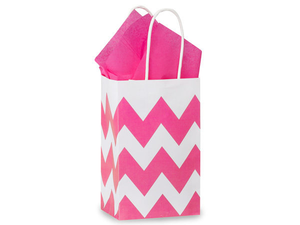 Rose Chevron Stripe Hot Pink 25 Pk Bags 5-1/4x3-1/2x8-1/4""