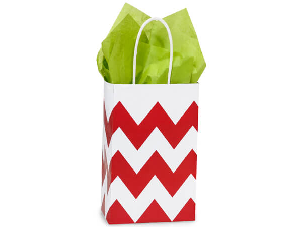Rose Chevron Stripe Red Recycled 25 Pk Bags 5-1/4x3-1/2x8-1/4""