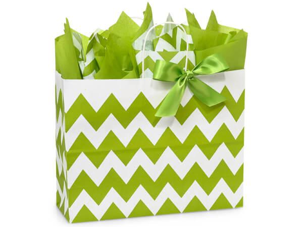 "*Apple Green Chevron Stripe Paper Bags, Vogue 16x6x12.5"", 25 Pack"