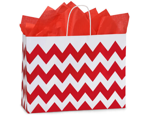 Vogue Chevron Stripe Red 25 Pk Bags 16x6x12-1/2""