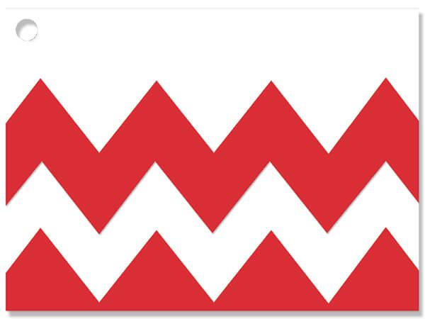 "Red Chevron Stripe Theme Gift Cards 3-3/4x2-3/4"""