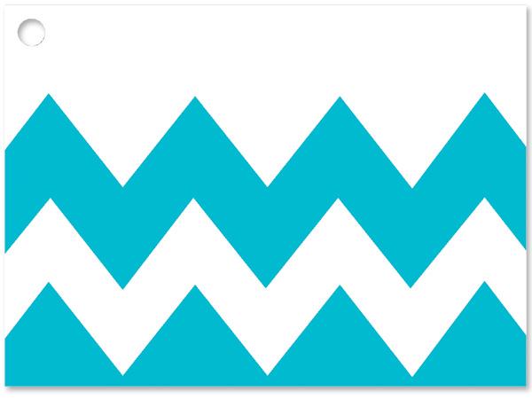 """**Turquoise Chevron Stripe Card 3-3/4x2-3/4"""""""