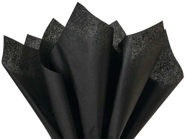 "Black Color Tissue Paper, 20x30"", Bulk 480 Sheet Flat Pack"