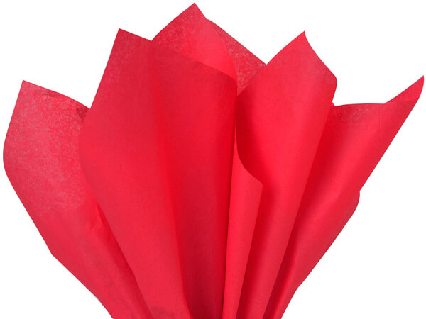 "Red Color Tissue Paper, 20x30"", Bulk 480 Sheet Flat Pack"