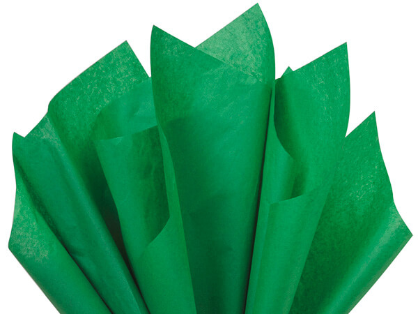 "Festive Green Color Tissue Paper, 20x30"", 24 Soft Fold Sheets"