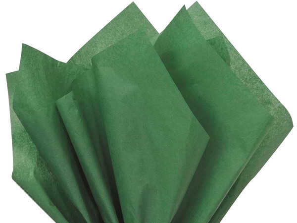 "Holiday Green Color Tissue Paper, 20x30"", 24 Soft Fold Sheets"