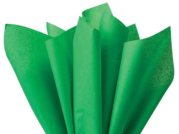 "Kelly Dark Green Color Tissue Paper 20x30"", 24 Soft Fold Sheets"