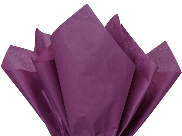 "Plum Color Tissue Paper, 20x30"", 24 Soft Fold Sheets"