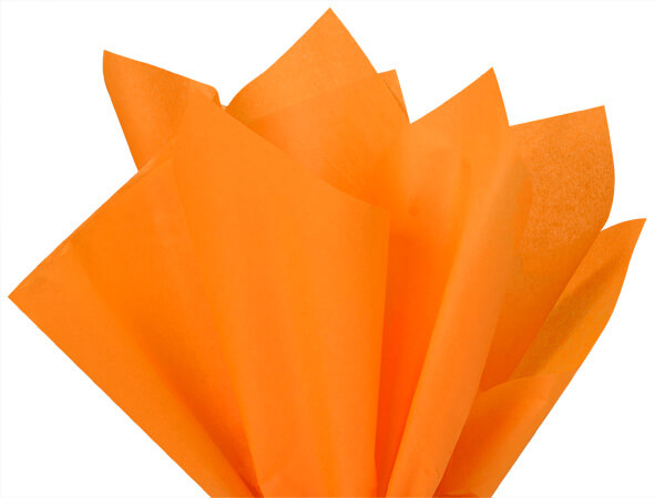 "Tangerine Color Tissue Paper, 20x30"", 24 Soft Fold Sheets"