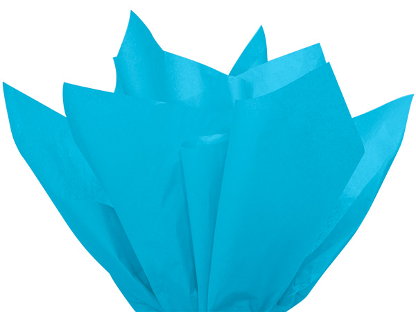 "Turquoise Blue Color Tissue Paper, 20x30"", 24 Soft Fold Sheets"