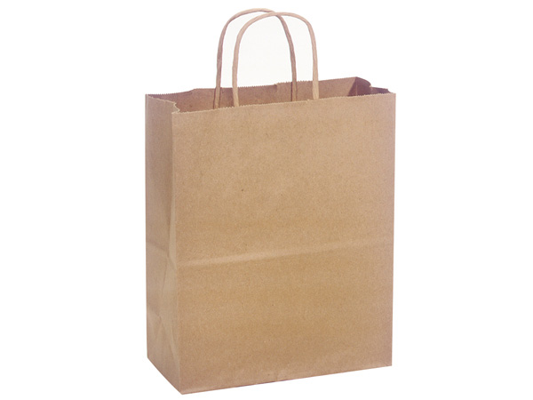 "Natural Brown Kraft Shopping Bags Cub 8x4.75x10"", 250 Pack"