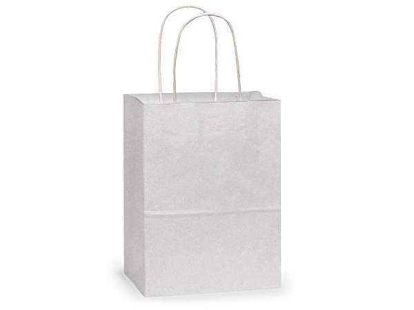 "White Kraft Paper Shopping Bags, Cub 8x4.75x10"", 250 Pack"