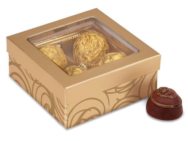 "Golden Scroll Window Candy Boxes, 3.5x3.5x1.5"", 24 Pack"
