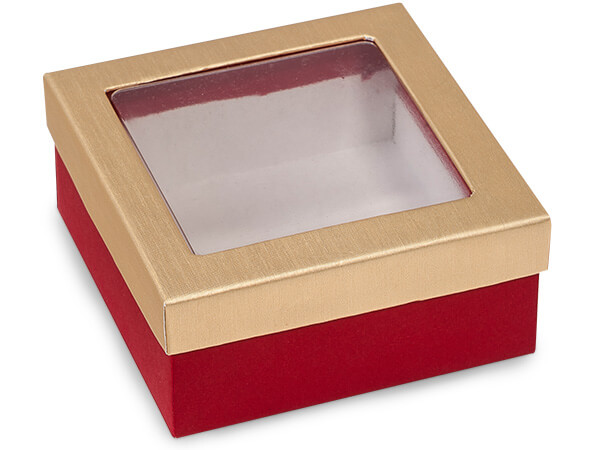 "Red & Brushed Gold Window Candy Boxes, 3.5x3.5x1.5"", 24 Pack"