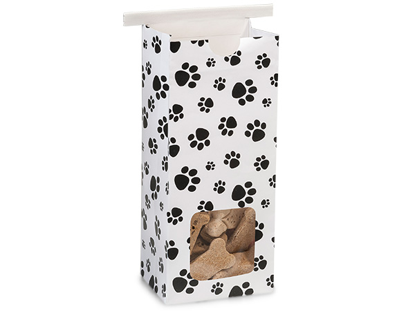 "1/2 lb Paw Print Window Coffee Bag, 3-3/8""x2-1/2""x7-3/4"", 100 pack"