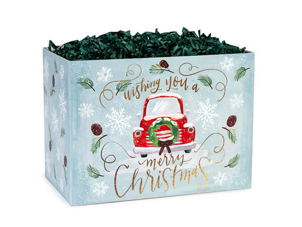 "Small Christmas Wishes Truck Basket Box 6 3/4"" x 4"" x 5"""