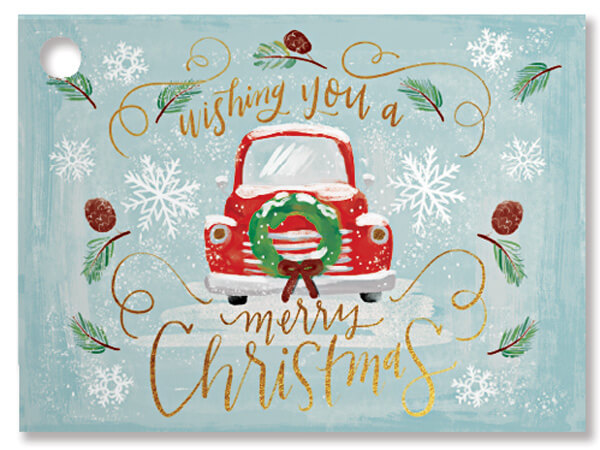 Christmas Wishes Truck Theme Gift Cards 3-3/4x2-3/4""