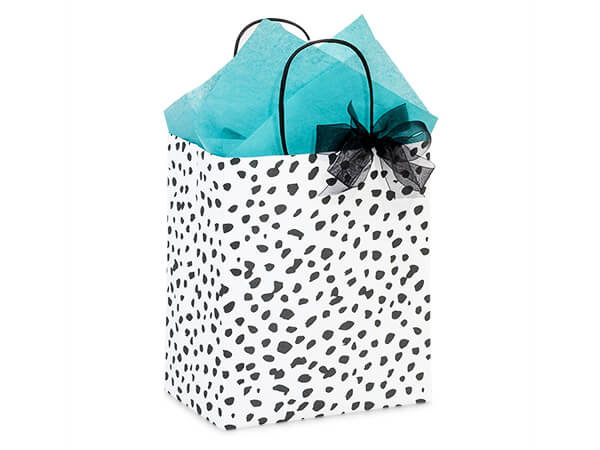 "Dalmatian Dots Paper Shopping Bag, Cub 8x4.75x10.25"", 250 Pack"