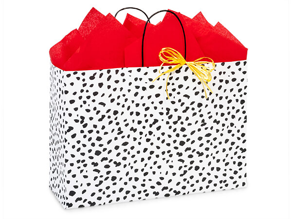 "Dalmatian Dots Paper Shopping Bag, Vogue 16x6x12"", 25 Pack"
