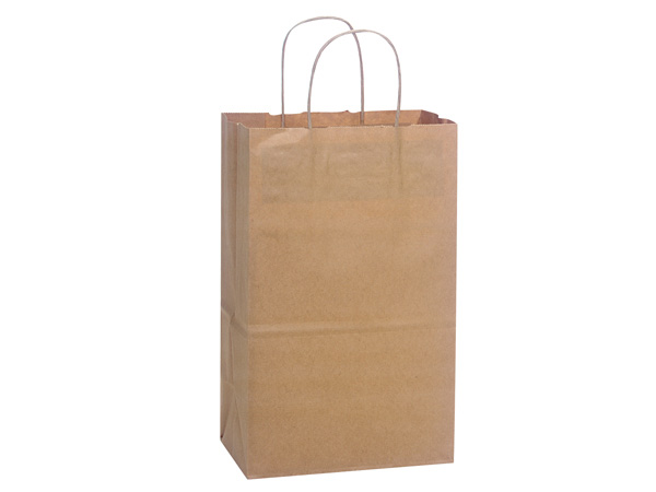 "Debbie Natural Kraft Shopping Bags 250 Pk 8-3/4x6x14"""