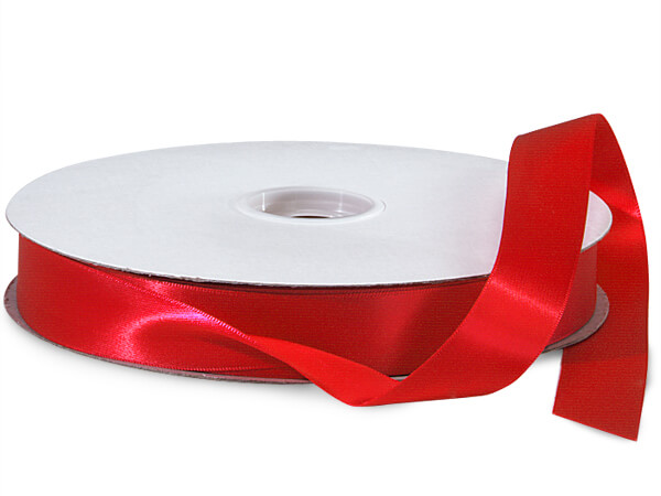 "Red Double Faced Satin Ribbon 7/8""x100 yds 100% Polyester"