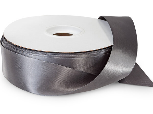 "Charcoal Double Faced Satin Ribbon 1-1/2""x50 yds 100% Polyester"
