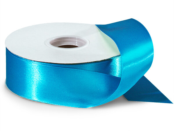 "Turquoise Double Faced Satin Ribbon 1-1/2""x50 yds 100% Polyester"