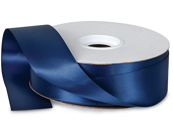 "Navy Double Faced Satin Ribbon 1-1/2""x50 yds 100% Polyester"