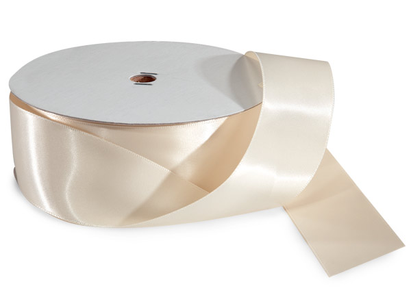 "Ivory Double Faced Satin Ribbon 1-1/2""x50 yds 100% Polyester"