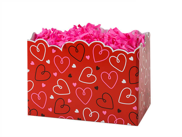 Small Doodle Hearts Basket Boxes 6-3/4x4x5""