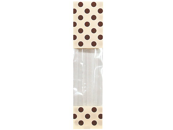 "Cream & Chocolate Polka Dots Cello Bags, 2x1.75x9.5"", 100 Pack"