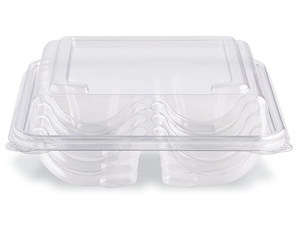 Low Dome 10 Count Cookie Tray, Recycled Clear PET, 200 Pack