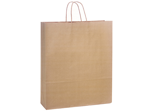 Queen Natural Kraft Shopping Bags 200 Pk 16x6x19""