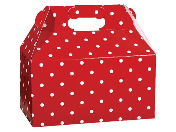 """*Red Dots Gable Boxes 9.5 x 5 x 5"""""""