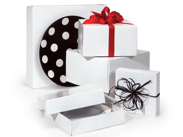 White Gloss Gift Box Assortment, 100 Pack, Contains 8 Sizes