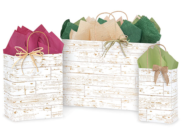 Distressed Wood Paper Shopping Bags