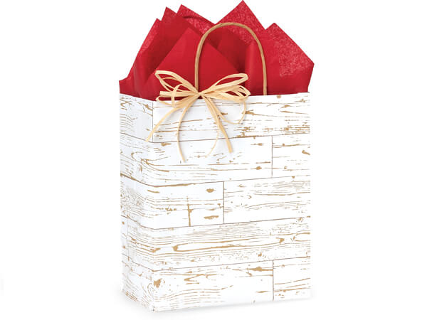 "Distressed Wood Paper Shopping Bags, Cub 8x4.75x10.25"", 250 Pack"