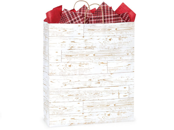 """Distressed Wood Paper Shopping Bags, Queen 16x6x19"""", 200 Pack"""