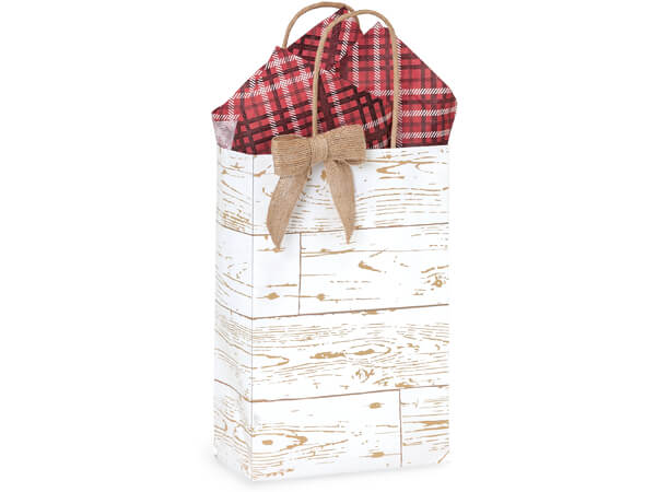 """Distressed Wood Paper Shopping Bags, Rose 5.5x3.25x8.5"""", 250 Pack"""