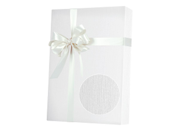 "Embossed White Linen  24""x833' Gift Wrap Full Ream Roll"