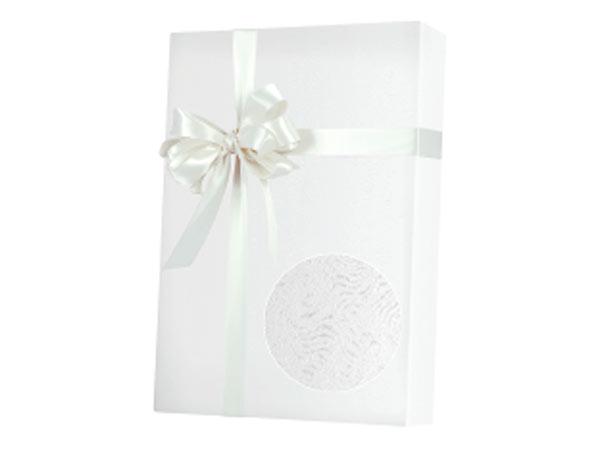 "Embossed White Grain 24""x100' Gift Wrap Roll"