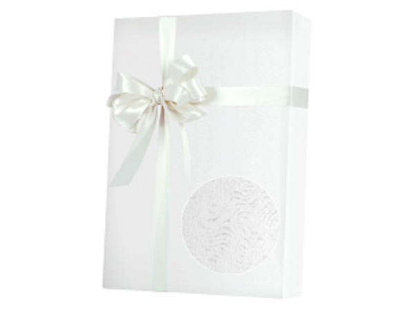 "Embossed White Grain 24""x417' Gift Wrap Half Ream Roll"