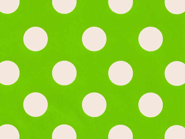 "Lime Polka Dots 24""x417' Gift Wrap Half Ream Roll"