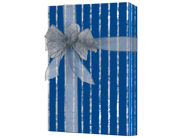 "Navy and Silver Stripe 24""x833' Gift Wrap Full Ream Roll (Kraft)"
