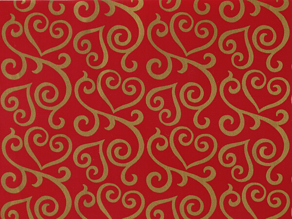 "Scrolled Hearts Wrapping Paper 24""x417', Half Ream Roll"